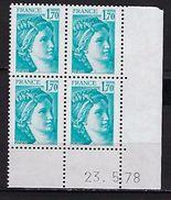 """FR Coins Datés YT 1976 """" Sabine 1F70 Bleu Clair """" Neuf** Du 23.5.78 - Coins Datés"""