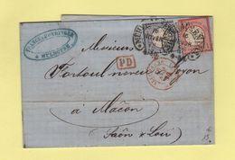 Mulhausen - Mulhouse - 16 Nov 1872 - Entree Allemagne Belfort - Sans Correspondance - Marcofilia (sobres)