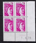 """FR Coins Datés YT 1978 """" Sabine 2F10 Rose """" Neuf** Du 1.6.78 - Coins Datés"""