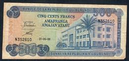 BURUNDI  P30c 500 FRANCS  1988   VG-F    NO P.h. ! ! - Burundi