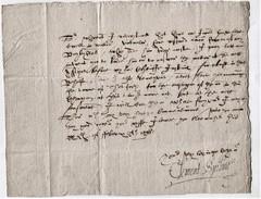 """1598 Letter From """"Clement Spilman, Norwich"""" To """"his Cozen Sr Bassingborne Gawdye"""".  TRANSCRIPT  Ref 0407 - Autographs"""