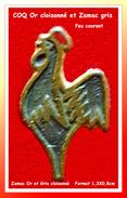 """SUPER PIN´S """"Coq"""" : Peu Courant Ce Petit Coq Bronze Cloisonné Fond Zamac Gris, Format 1,3X0,8cm - Animaux"""