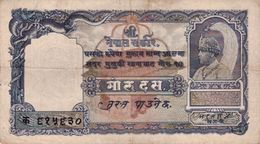 NEPAL 10 MOHRU BANKNOTE KING TRIBHUVAN 1951 PICK NO.3 VERY GOOD VG - Nepal