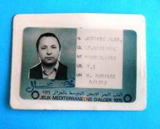 MEDITERRANEAN GAMES 1975. ALGERIA - Official ID Card * Jeux Mediterraneens D'Alger Giochi Del Mediterraneo Algérie - Apparel, Souvenirs & Other
