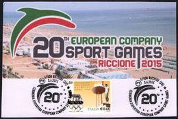 ITALIA RICCIONE (RN) 2015 - 20th EUROPEAN COMPANY SPORT GAMES - CARTOLINA PRIVATA - Francobolli