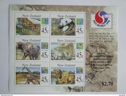 1994  Nouvelle Zélande - Yvert  BF 97 ** Animals  Scott 1236 B  Michel B 44  SG  Ms 1831 Philakorea - Blocs-feuillets