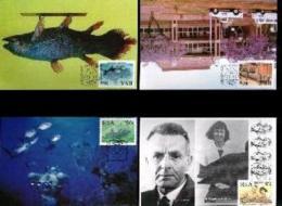 RSA, 1988, Mint Maxi Cards, MI Nr. 87-90,  Selakant Fish - Covers & Documents