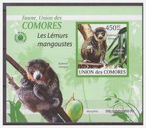 0394 Comores 2009 Apen Mangoest Ape Monkey Singe Mangoustes S/S MNH Imperf - Apen