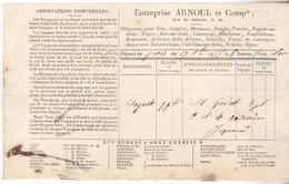 10 Nogent Sur Seine- Recu De 1835 Entreprise ARNOUL & Cie ,voyage Diligence De Paris à Nogent ,chez Jacquin Sauson. - 1800 – 1899