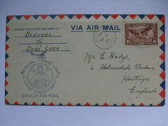 CANADA 1935 First Flight Cover - Beuval To Dore Lake - 1911-1935 George V