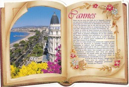 CANNES. Vue Aérienne. CPM Livre Ouvert Découpé. Texte Explicatif à Droite - Cannes