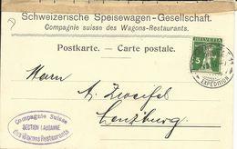 125II, Fils De Tell, Vert Clair,sur Carte, Compagnie Suisse Des Wagons-restaurants, Section Lausanne - Covers & Documents