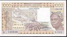 W.A.S. SENEGAL P707Ki 1000 FRANCS  1989 VF Few Folds 1 P.h. ! - Stati Dell'Africa Occidentale