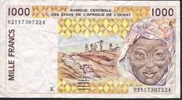 W.A.S. SENEGAL P711Kl 1000 FRANCS  (20)02  VF Folds N0 P.h. ! - West African States