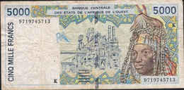 W.A.S. SENEGAL P713Kf 5000 FRANCS  (19)97  VF Folds 2 P.h. ! - West African States