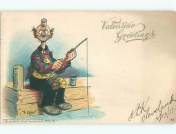 Pre-1907 Valentine Signed FISHING - FISHERMAN AT THE DOCK K5432 - Valentine's Day