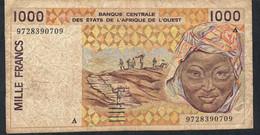 W.A.S. IVORY COAST  P111Ag 1000 FRANCS (19)97 FINE NO P.h. ! - West African States