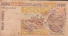 W.A.S. GUINEA BISSAU   P911Sb 1000 FRANCS (19)98 FINE P.h. ! - West African States
