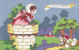 Blue Beard Barbe-Bleue Fairy Tale Queen In Castle, Cut-out Applique Texture Different Layers C1940s/50s Vintage Postcard - Fairy Tales, Popular Stories & Legends