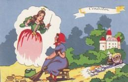 Cinderella Cendrillon Fairy Tale Girl Fairy Godmother, Cut-out Applique Texture C1940s/50s Vintage Postcard - Fairy Tales, Popular Stories & Legends