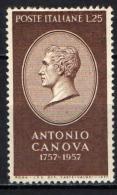 ITALIA - 1957 - ANTONIO CANOVA - GOMMA BRUNITA - SEE 2 SCANS - NUOVO MNH - 6. 1946-.. Republic