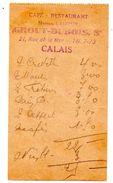 Calais Note Restaurant Grout Dubois - Vieux Papiers