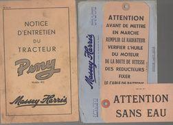 Notice D'entretien Du Tracteur PONY 812  1951 (CAT 813) - Tools
