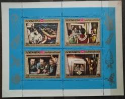 V26 - Yemen Kingdom 1969 Mi.  801-804 MNH Complete Sheet - Apollo 11 Space Mission & Astronauts - Yemen