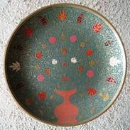IN.- Koperen Wandbord Uit India Met Bloem Motief.  Scans. - Oriental Art