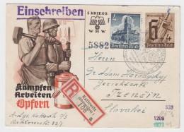 Generalgouvernement 1941 Registered Postal Stationery Card Kattowitz - Gobierno General