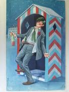 """Peinture Originale 24,5 X 38,5 De Louis CARRIERE """"Toujours En Panne Ce Maudit Ascenseur..."""" (4 Scans) - Autres Collections"""