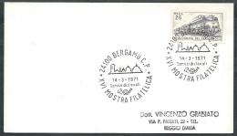 1971 ITALIA BUSTA SPECIALE ANNULLO BERGAMO MOSTRA FILATELICA TIMBRO ARRIVO KI17 - 1946-.. République