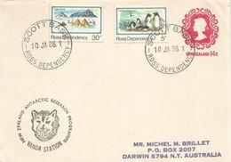 Expedition Bases Scott & Vanda: Janvier 1986, Sur Entier Postal Néo-Zélandais, Adressé En Australie - Dépendance De Ross (Nouvelle Zélande)