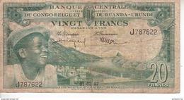 Banque Centrale Du Congo Belge Et Du Ruanda Urundi - 20 Francs - 01 03 1957 - République Démocratique Du Congo & Zaïre