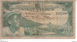 Banque Centrale Du Congo Belge Et Du Ruanda Urundi - 20 Francs - 01 08 1957 - République Démocratique Du Congo & Zaïre