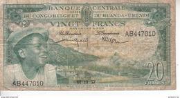 Banque Centrale Du Congo Belge Et Du Ruanda Urundi - 20 Francs - 01 10 1957 - République Démocratique Du Congo & Zaïre