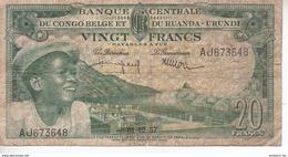 Banque Centrale Du Congo Belge Et Du Ruanda Urundi - 20 Francs - 01 12 1957 - République Démocratique Du Congo & Zaïre