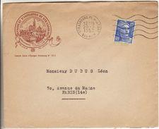 Strasbourg Place De La Gare 1952  - Flamme à Vagues Sur Enveloppe Illustrée Syndicat Initiatives Sur Gandon - Poststempel (Briefe)