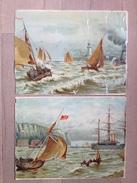 Lot De 12 Chromos Et Découpis Dont 4 Grandes: Bateaux ( Env. 35 X 25,5 Cm !!!) - Documentos Antiguos