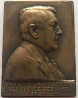 Medaille. A Frans Van Kalken - Ses élèves, Ses Amis - 1951. Bonnetain. 65 X 50 Mm. 104gr. - Non Classificati