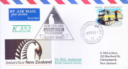 ROSS DEPENDENCY / NEW ZEALAND - 2001 ANTARCTIC EXPEDITION COVER, SCOTT BASE, LETTER CARRIED THROUGH BRITISH POST OFFICE - Ross Dependency (New Zealand)