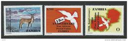 Zambia 1998 Sc 710-712 MNH Papo Animals - Zambia (1965-...)