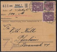 DR Paketkarte Mif Minr.157II, 2x 164 Erfurt Gewehrfabrik 19.12.21 Geprüft - Deutschland