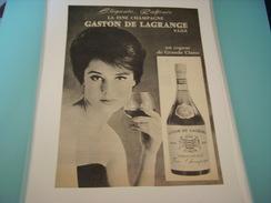 ANCIENNE PUBLICITE BOISSON FINE CHAMPAGNE COGNAC GASTON DE LAGRANGE - Alcools