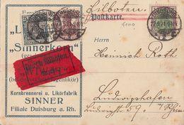 DR Karte Eilbote Mif Minr.104,142,150 Duisburg 22.9.21 - Deutschland