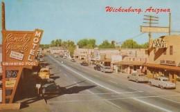 Wickenburg Arizona, Street Scene, Rancho Grande Motel Sign, Autos Business District, C1950s Vintage Postcard - Other