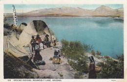 Roosevelt Lake Arizona, Apache Indians Native Americans House On Lake Shore, C1920s Vintage Postcard - Other