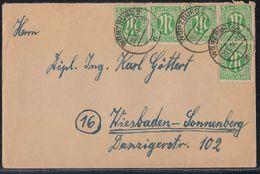 AM-Post Brief Mef Minr.5x 3 Würzburg 20.6.46 - Bizone