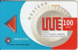 GHANA - Abstract Design 2, WESTEL Magnetic Prepaid Card 100 Units, Mint - Ghana