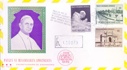 VATICANE CITY 1964 FIRST DAY COVER - POPE VISIT TO INDIA - COMMERCIALLY SENT TO INDIA WITH REGISTRATION, ADDRESS ERASED - Covers & Documents